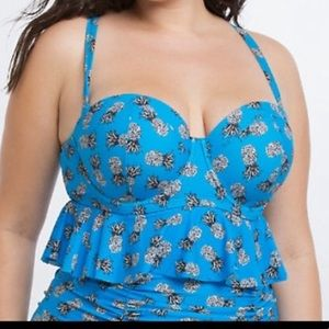 Torrid pineapple peplum swim top!